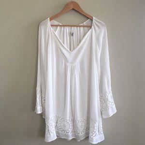 UO Ecote Crochet Bell-Sleeve Frock Dress Size M